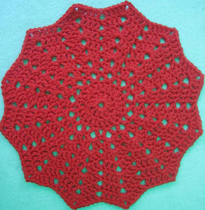 """Vintage Rose"" Granny Round Crocheted Dishcloth"