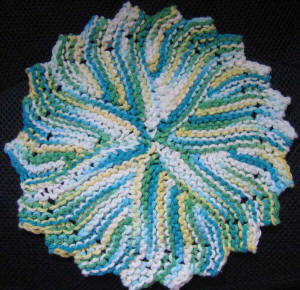 free round knit dishcloth pattern written out